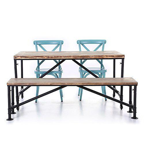 IKAYAA Kitchen Dining Breakfast Table Bench 2 Steel