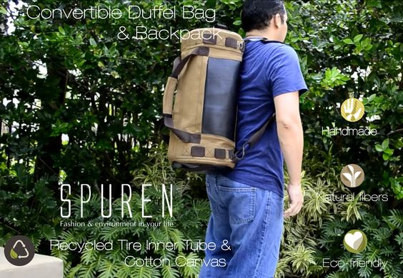 Bold and rugged convertible duffel bag, handcrafted keeping in mind that men appreciate durable products. It is handmade from heavy cotton canvas and recycled tire inner tube using nylon thread and reinforced stitching, an excellent option for biking, hiking, traveling and more.  Free shipping to continental USA. Ships on USPS Priority (1 - 3 days delivery) https://spurenhandbags.com/product/ethical-handmade-accessories-eco-animal-friendly-vegan-rugged-george-duffel-bag/
