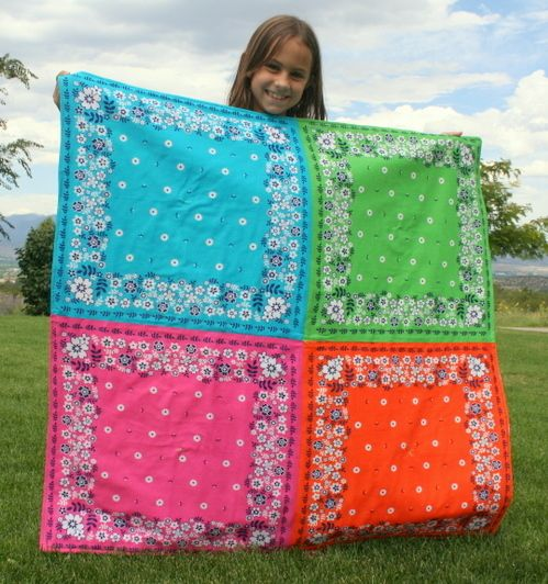 Hey...I may be able to do this one....no cutting....Bandana quilt (with tutorial) perfect to keep in the car for that impromptu summer picnic!-or for singing time in Nursery!