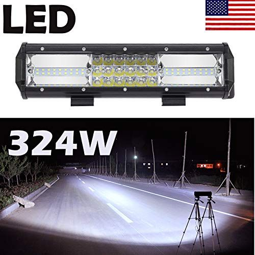 12 Inch 324w Led Light Bar Triple Row Flood Spot Combo Be Led Lights Boat Lights Bar Lighting