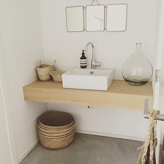 Une salle de bain pur e pinterest gris comptoirs et - Pinterest deco salle de bain ...