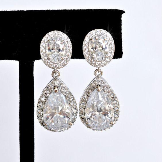 Classic Pear Cubic Zirconia CZ Dangle Clip-On Bridal Earrings (Sparkle-2428-U) #Handmade #ClipOn
