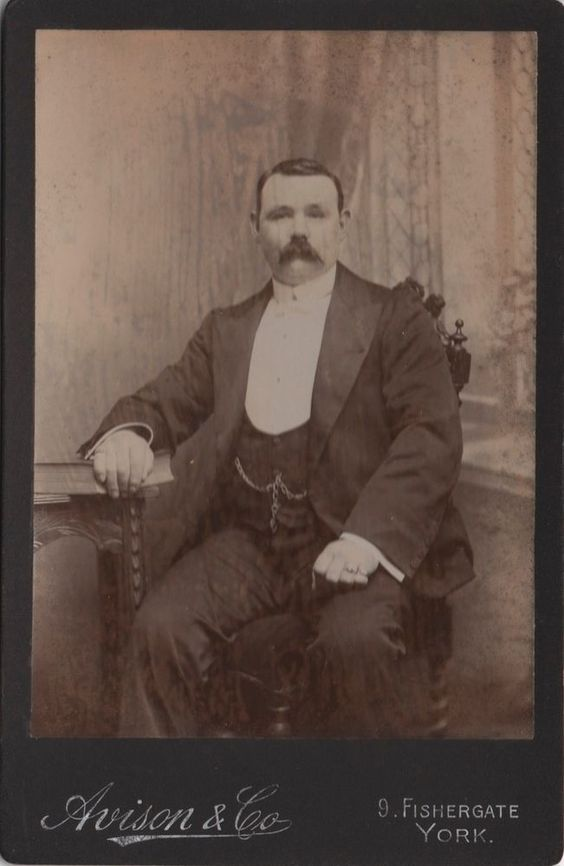 Cabinet photo of a Victorian Man taken in York around late 1890s by the Avison & Co studio located at 9 Fishergate.