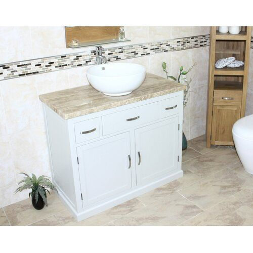 Robinett Solid Oak 1000mm Free Standing Single Vanity Unit Brayden Studio Single Vanity Units Vanity Units Single Vanity