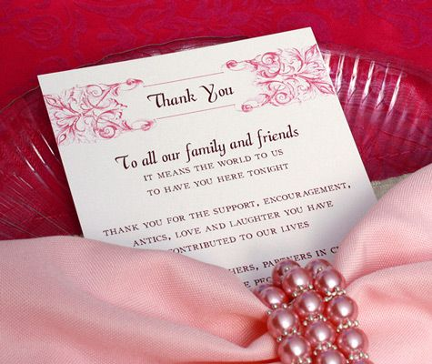 Tucking your guests thank you cards into the napkin at their – Wedding Stationery Thank You Cards