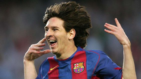 Leo after scoring his first league goal. | Lionel Messi, Barcelona vs.  Albacete, 2005