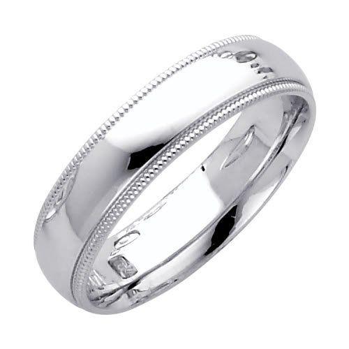 14k white gold 5mm comfort fit plain milgrain wedding band ring for men women