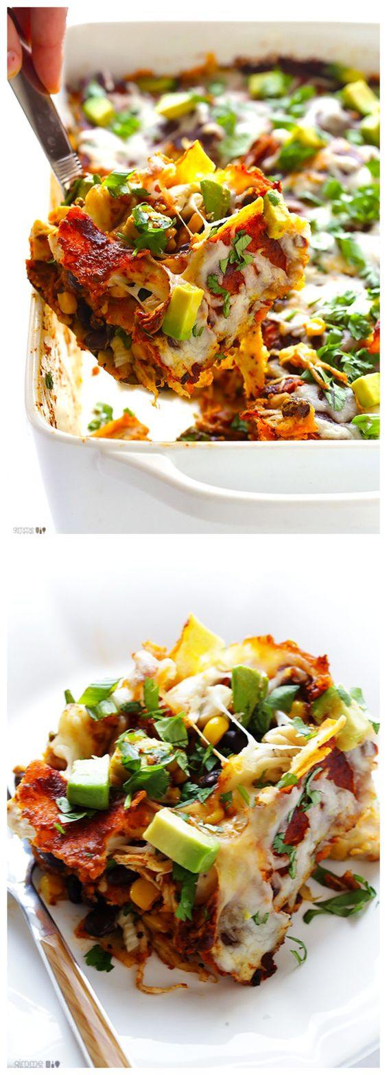 "Chicken Enchilada Casserole -- also known as ""stacked"" chicken enchiladas, this easy recipe is MUY delicioso."