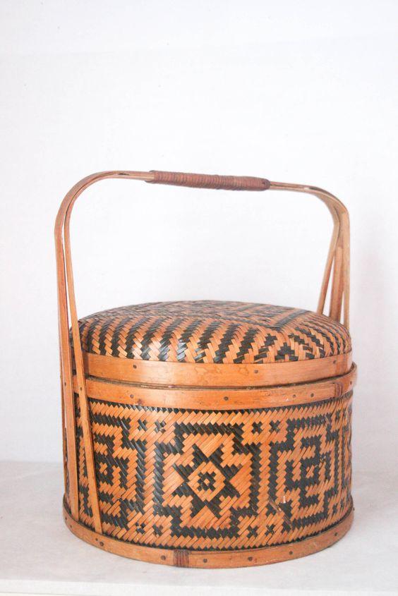 SALE Vintage Woven Basket - Sewing Basket, Picnic Basket, Aztec, Wicker. $52.00, via Etsy.