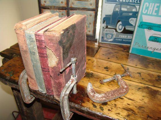 Vintage Clamp Book Ends Set of by RefunkedJunkies on Etsy