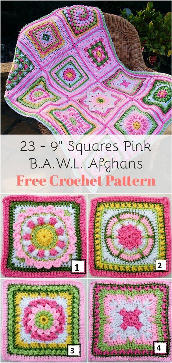 23 - 9 Squares Pink B.A.W.L. Afghans Free Crochet Pattern