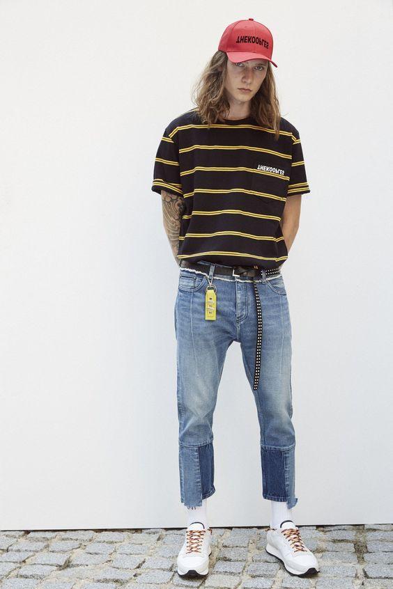 Tシャツ×リペアデニム×ロングベルト