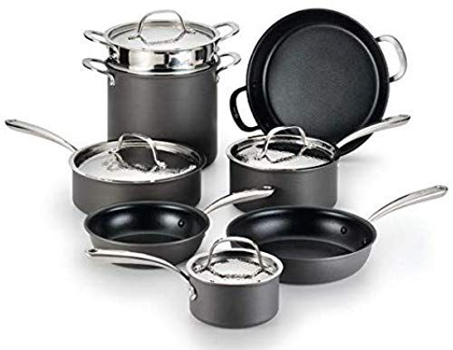 New Lagostina H904sc64 Nera Hard Anodized Nonstick 12 Piece Cookware Set Hammered Stainless Steel Lids Dishwasher Safe Grey Online Shopping In 2020 Cookware Set Stainless Steel Cookware Set Lagostina