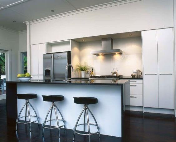 Waterfall Island Black Bench Our Kitchen Pinterest Black Bench Benches And Islands