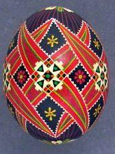 Pysanka, Real Ukrainian Easter Egg Hen Chicken Shell,Geometric Design,Black P55