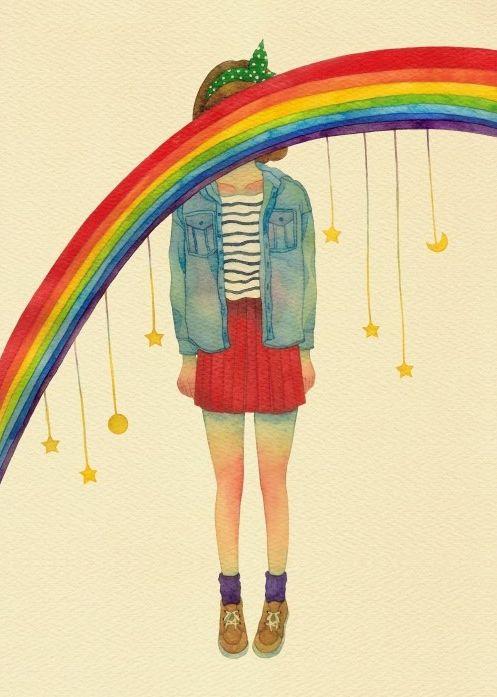 Menina com arco-íris na cabeça.