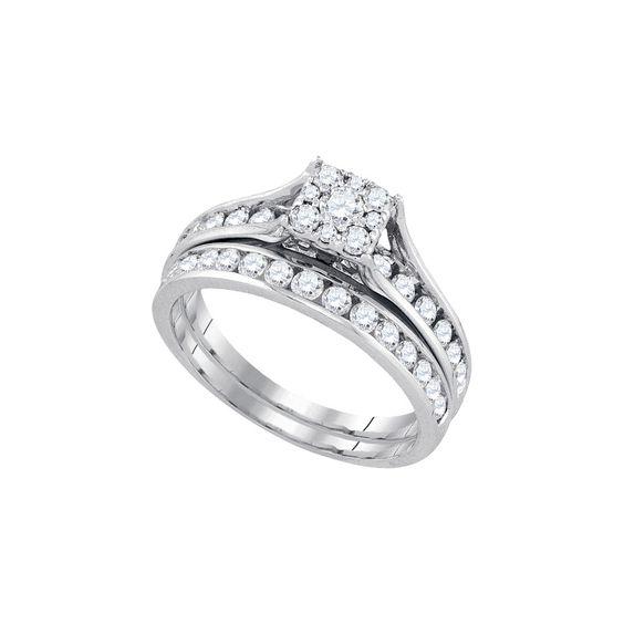 14kt White Gold 1.00ct TW Round Diamond Bridal Ring Set
