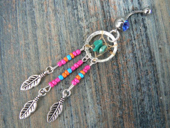 dreamcatcher belly ring turquoise pink orange blue beads in native american inspired tribal boho hippie belly dancer and hipster style