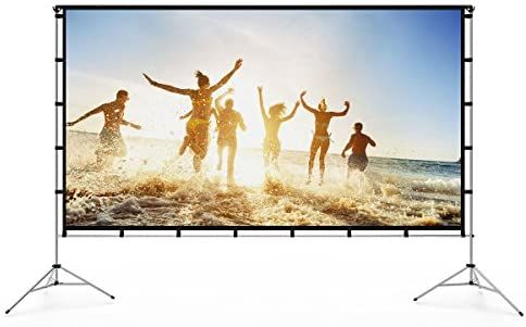 Amazon Com Vamvo Outdoor Indoor Projector Screen With Stand Foldable Portable Movie Screen In 2020 Projector Screen Stand Outdoor Projector Outdoor Projector Screens