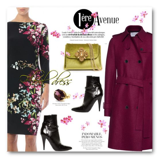 """""""Premiere Avenue Boutique - floral dress"""" by svijetlana ❤ liked on Polyvore featuring Joseph Ribkoff, Harris Wharf London, Bebe, Yves Saint Laurent, country and premiereavenueboutique"""