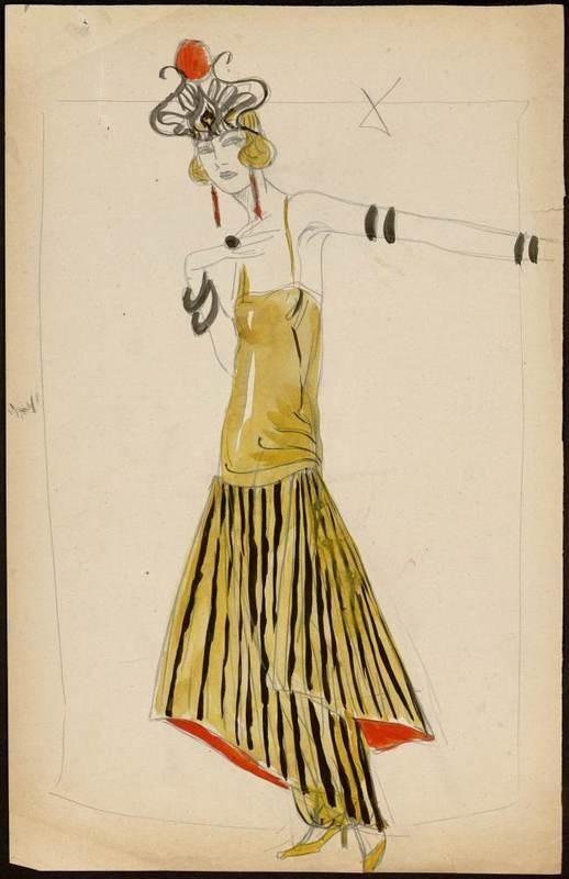 [Modèle de robe longue] Création: Paul Poiret  (maison de couture) Muguette Buhler (modéliste auteur du dessin), 1922. Crayon et aquarelle  | Centre de documentation des musées - Les Arts Décoratifs (hva)