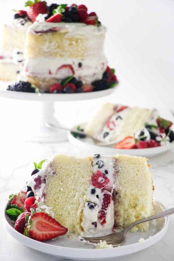 Hot Milk Sponge Cake with Berries