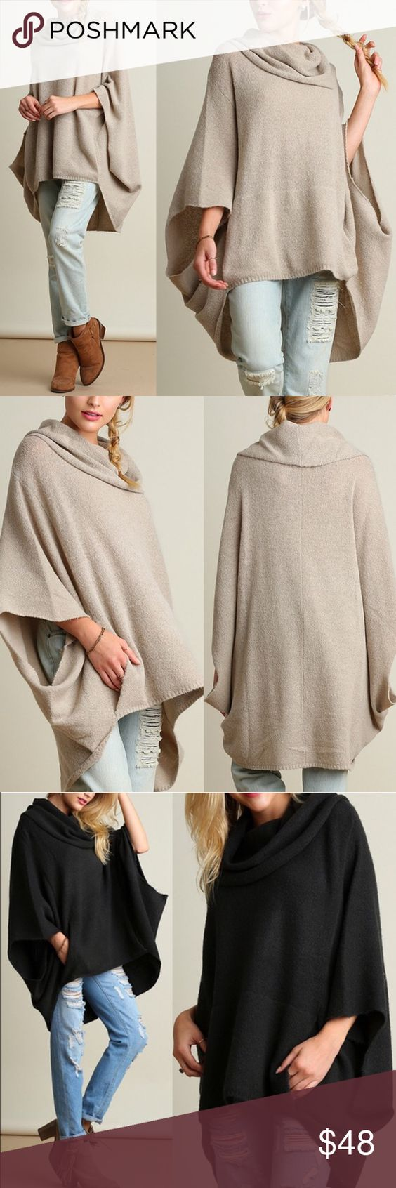Ponchos, Cowl neck and Sweaters on Pinterest