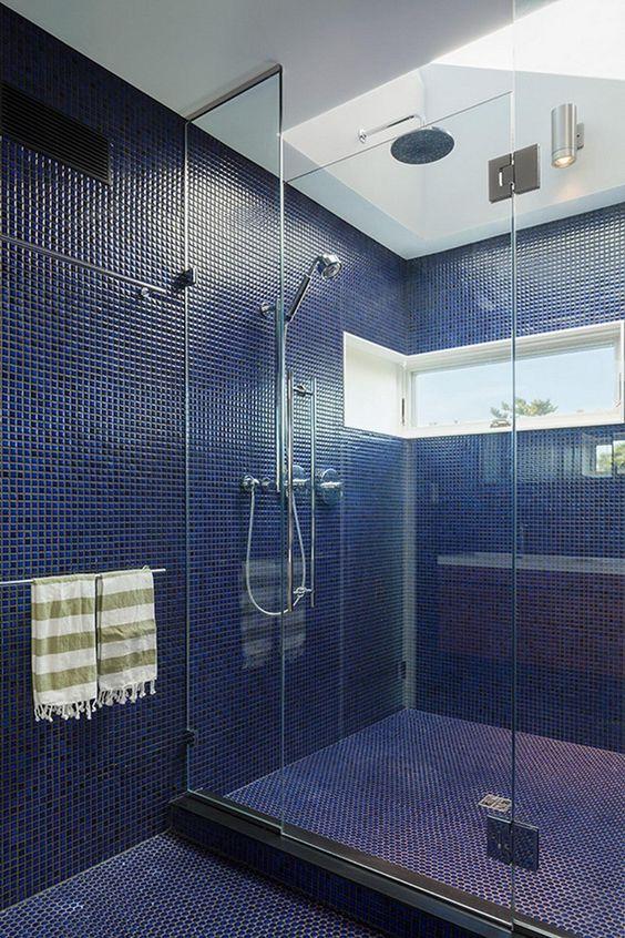 """A Blue Tiled Bathroom // Ruhl Walker Architects Design """"House of Shifting Sands"""" In Cape Cod"""