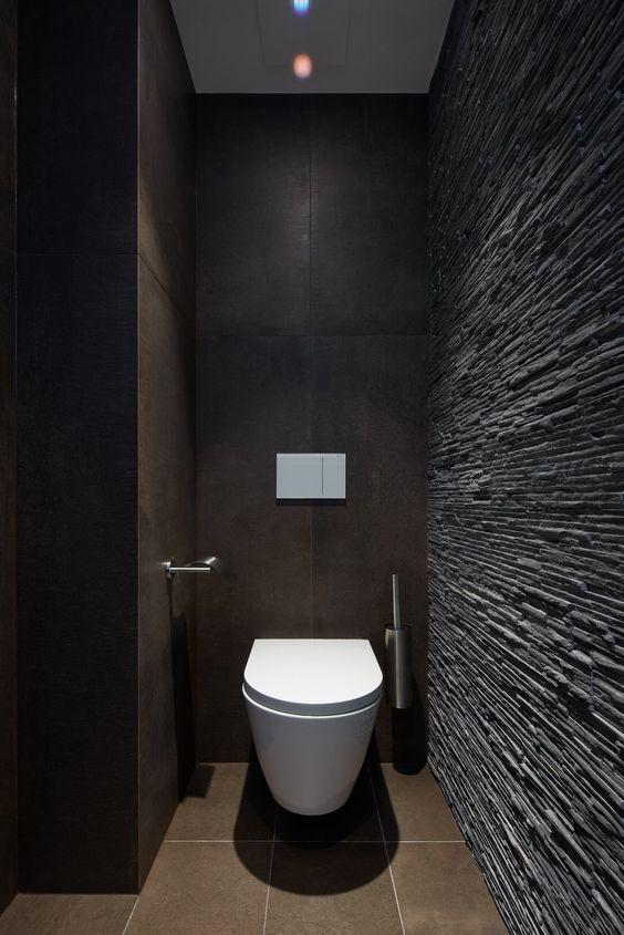 Decora Tu Bano Con Tonos Oscuros Wc Inrichting Toilet Ontwerp