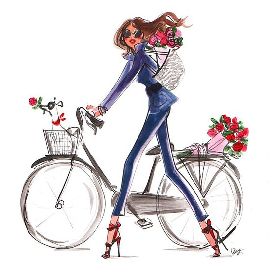 Never enough roses #spring #roses #flowers #fashion #illustration #fashionillustration #bike #izaksmuse #lolasworld #izakzenou