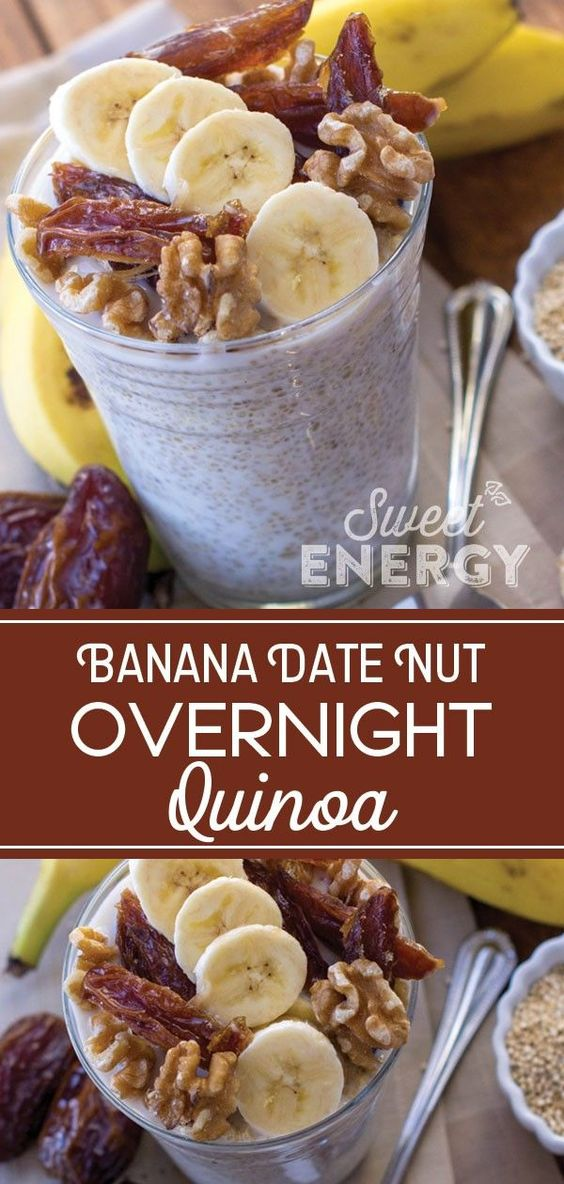 Overnight Oats but with Quinoa instead!  Try this banana, date and walnut combination. Super Easy to make and last all week long.