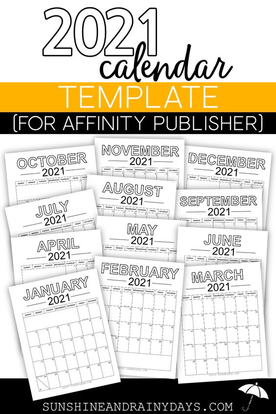 2021 Calendar Template For Affinity Publisher Calendar Template 2021 Calendar Publisher Templates