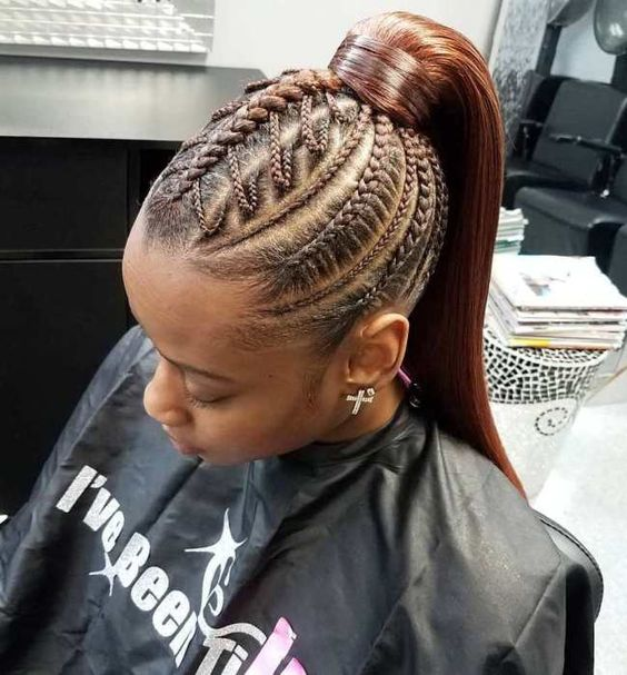 cornrows with a sleek ponytail