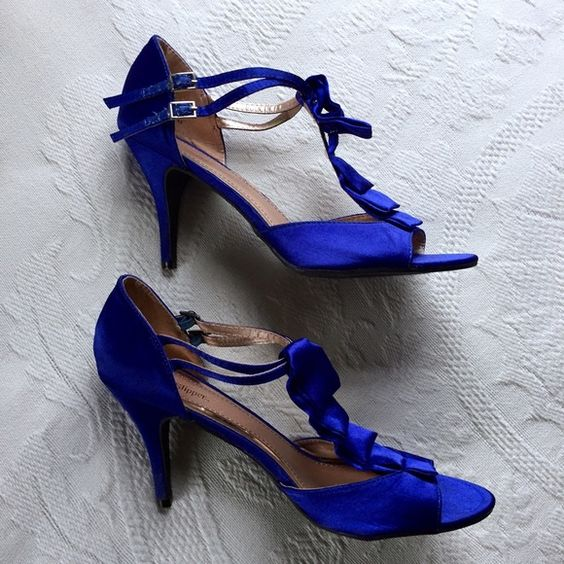 Royal Blue Heels Royal blue heels. Two adjustable buckles on the sides. Only worn once. Silver Slipper Shoes Heels