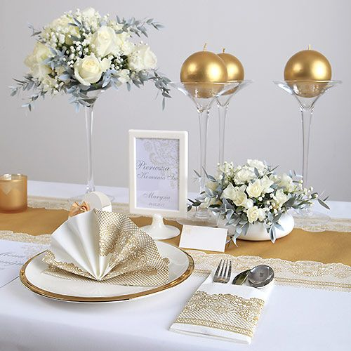 Bieznik Flizelinowy Zlota Koronka 40cmx24m Table Decorations Decor Table