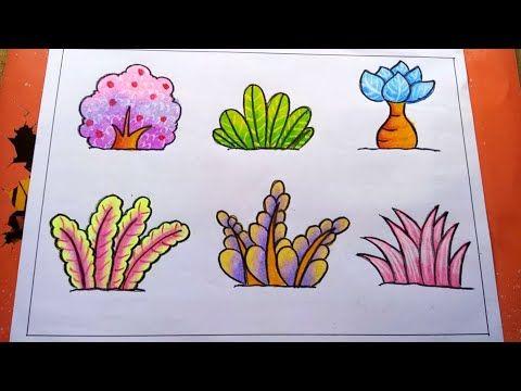 Cara Mewarnai Tanaman Bunga Dan Rumput Dengan Gradasi Crayon