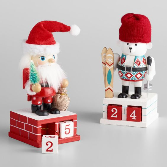 Santa and Bear Christmas Countdown Nutcrackers Set of 2 by World Market