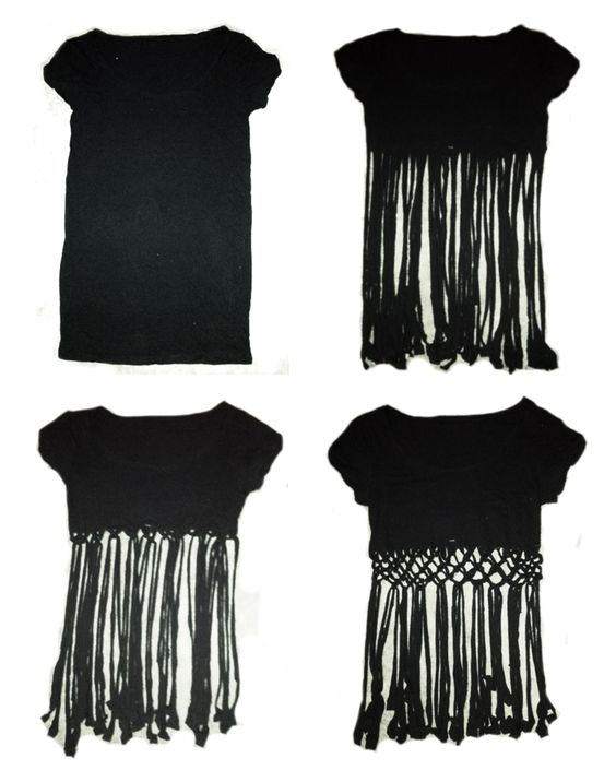 ➳➳➳☮American Hippie DIY - Cut a T-shirt and knot to make a cute Fringe summer crop top .. Easy!: