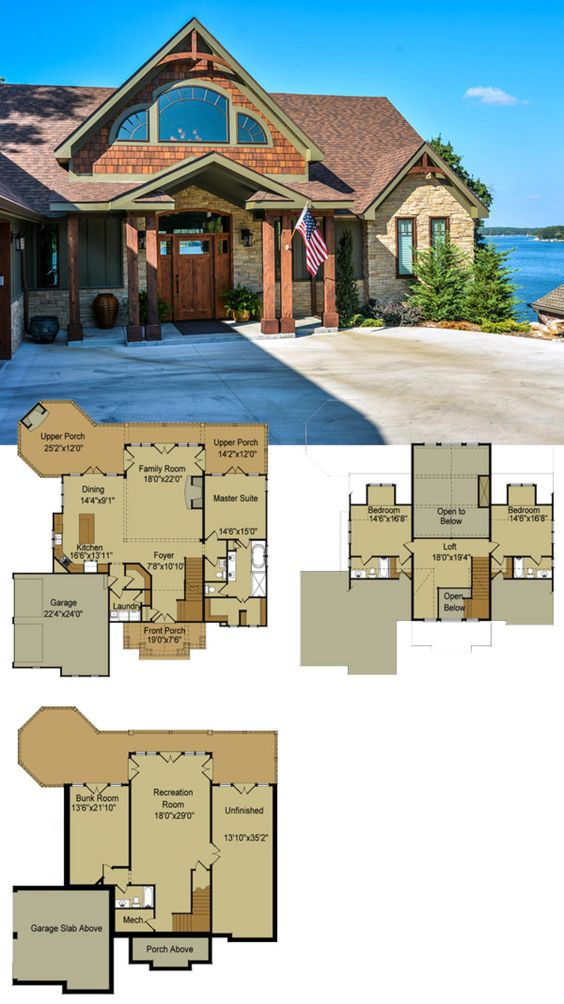 Rustic mountain house floor plan with walkout basement for Small lake homes floor plans