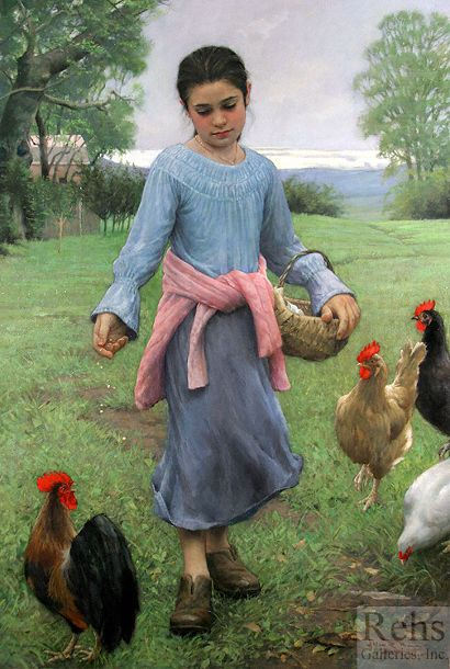 Girl Feeding Her Chickens by Allan R. Banks (1948, American)