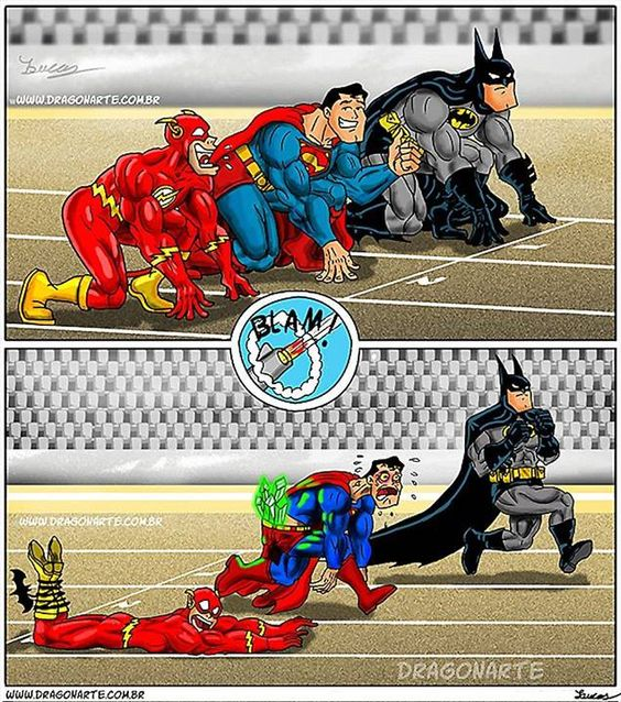 And the winner is... (Of course only batman would win a race against superman and the flash!)