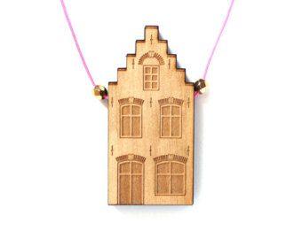 Wooden pendant Audrey - laser engraved and cut - minimalist - cute - japanese - scandinavian - design - maple    This delicate wooden pendant