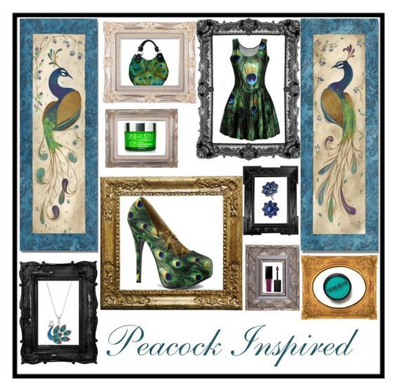 """Peacock Inspired"" by greenarmy on Polyvore featuring Smashbox, The Bradford Exchange, Bordello, Cane + Austin, Free People and Nina"