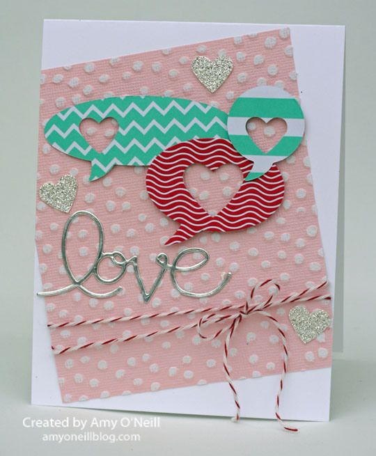 Stampin' Up! Valentine by Amy O: Textured Speech Bubble Hearts