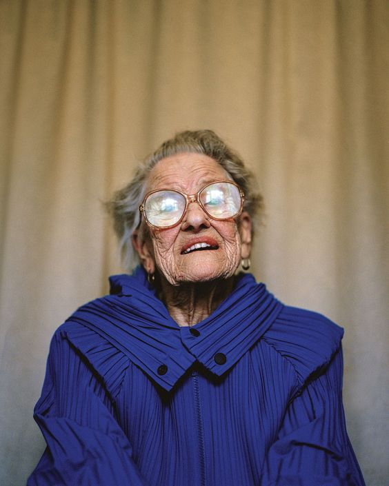 Small Town (in Wales), High Fashion    Phyllis, Age 92, Retired Dinner Lady, Swansea Road, wearing,  Pleats Please, Issey Miyake...