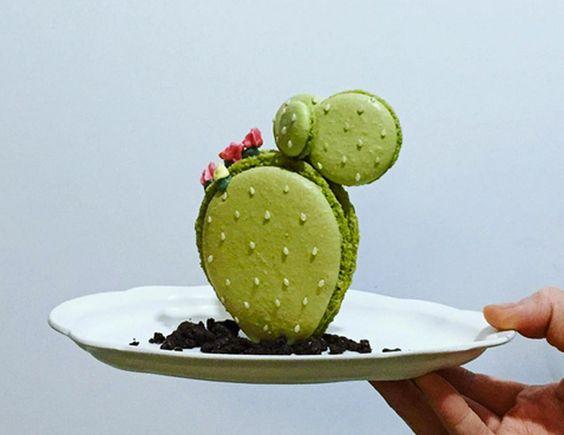 Macarons en forma de cactus