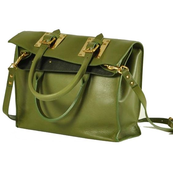 Sophie Hulme Slouchy Green Leather Buckle Tote (¥71,445) ❤ liked on Polyvore featuring bags, handbags, tote bags, purses, bolsas, accessories, leather tote bags, leather purse, foldable tote and leather handbag tote