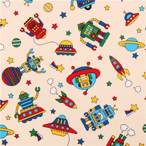 beige robot space starship fabric for boys from Japan