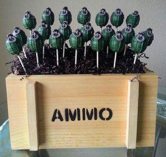 Grenade Cake Pops - Video Games Cake Pops - Army Birthday Party - Edible Party Favor
