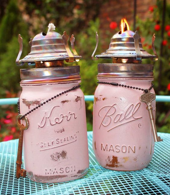 Upcycled Repurposed Ball Kerr Mason Pint Jar Oil Burner Set by GadgetSponge, $42.00 using Annie Sloan Chalk Paint distressed
